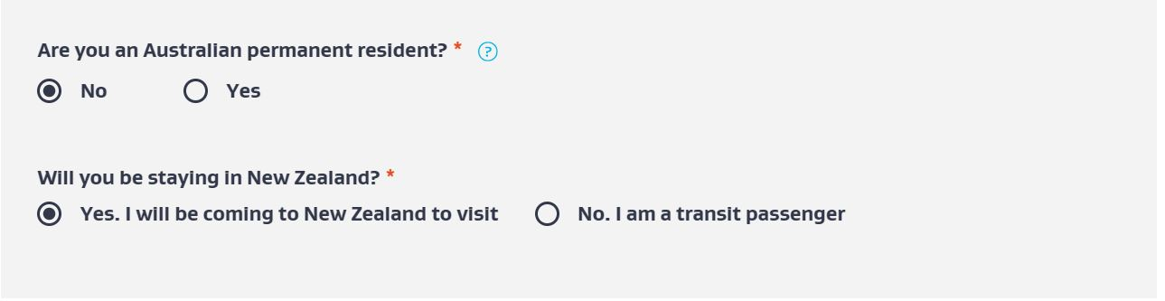 Step 4: Declare whether you are australian resident and if you're transiting or visiting New Zealand