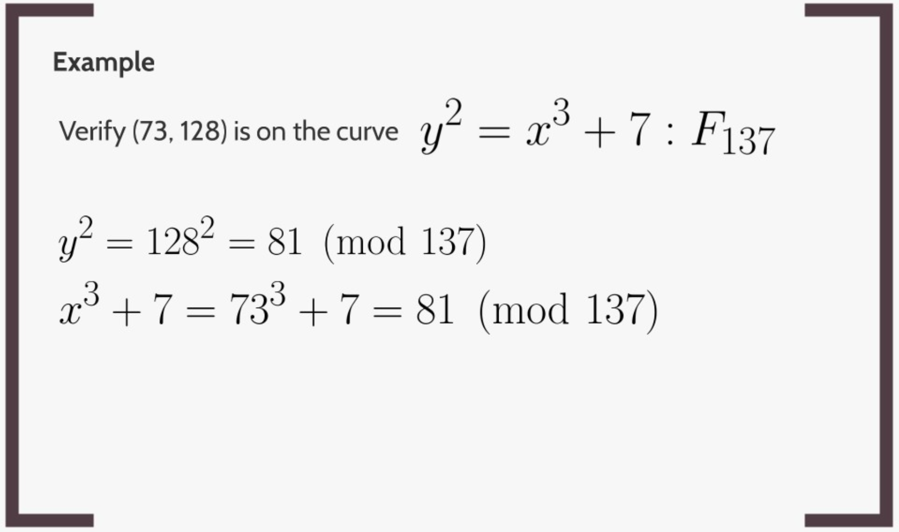 Both sides are equal, so (73, 128) is on the curve.