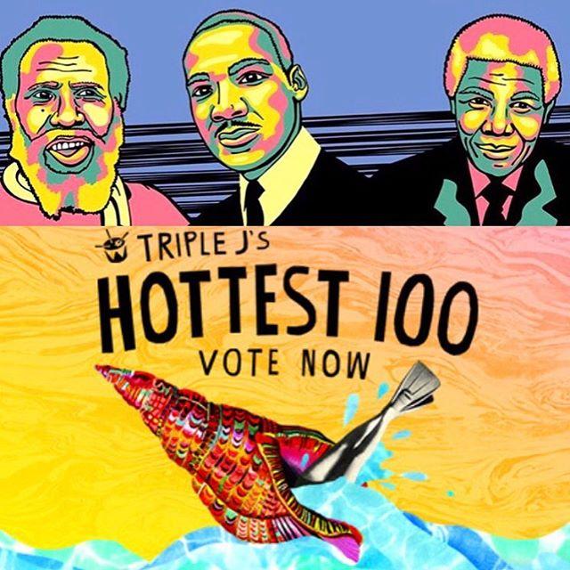 Our votes for @triple_j hottest hund ✌🏽🙌🏽✌🏽 @kgofficialaus  @misterbirdz  @emilywurramara_official  @dabakerboy  @sampa_the_great  @kaiit_isshe  @thecitizenkay  @genesisowusu  @sensiblejsmith  @arnofaraji