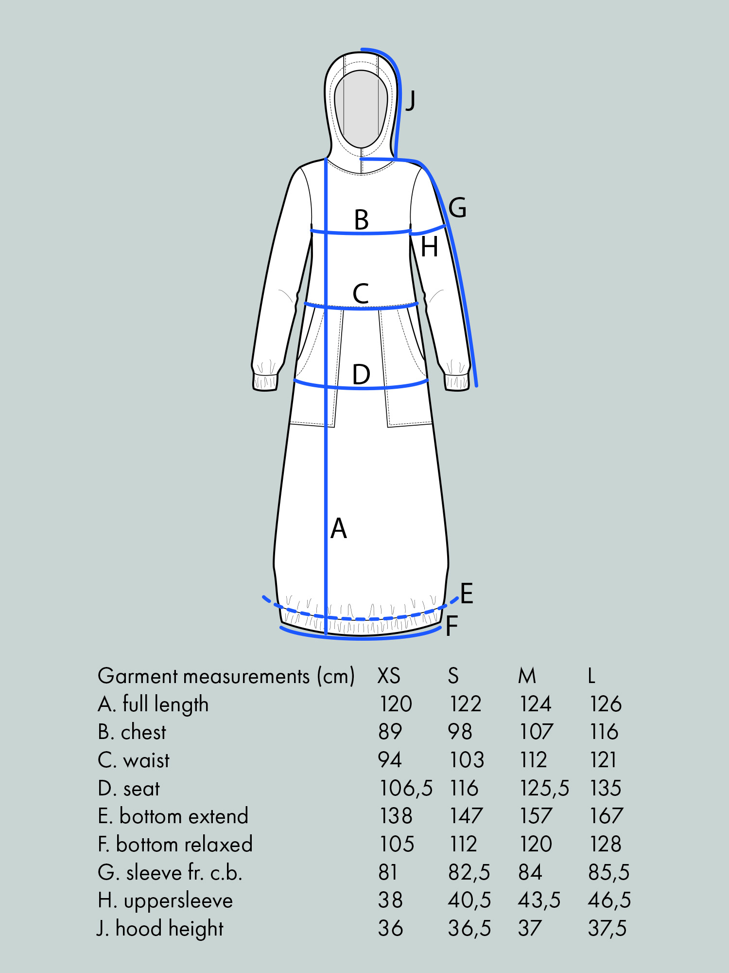 HOODIE DRESS Use bust measurement for sizing.