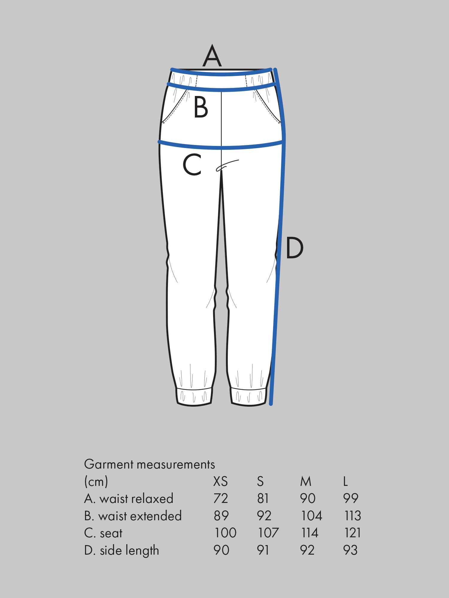 ALMOST LONG TROUSERS Use seat measurement for sizing.