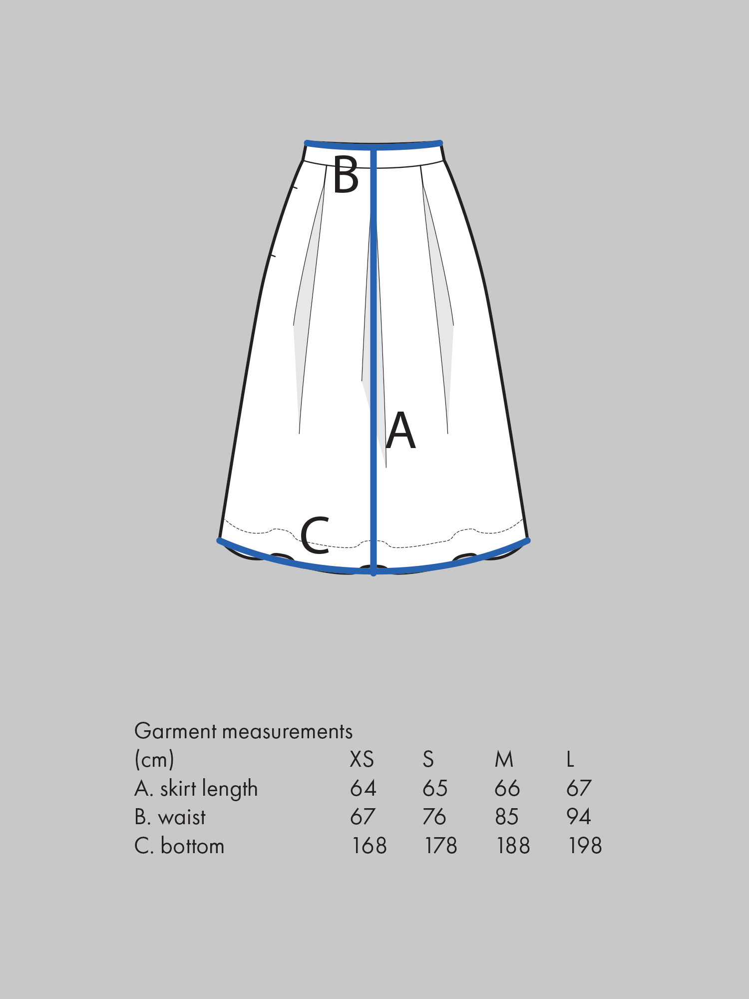 THREE PLEAT SKIRT Use waist measurement for sizing.