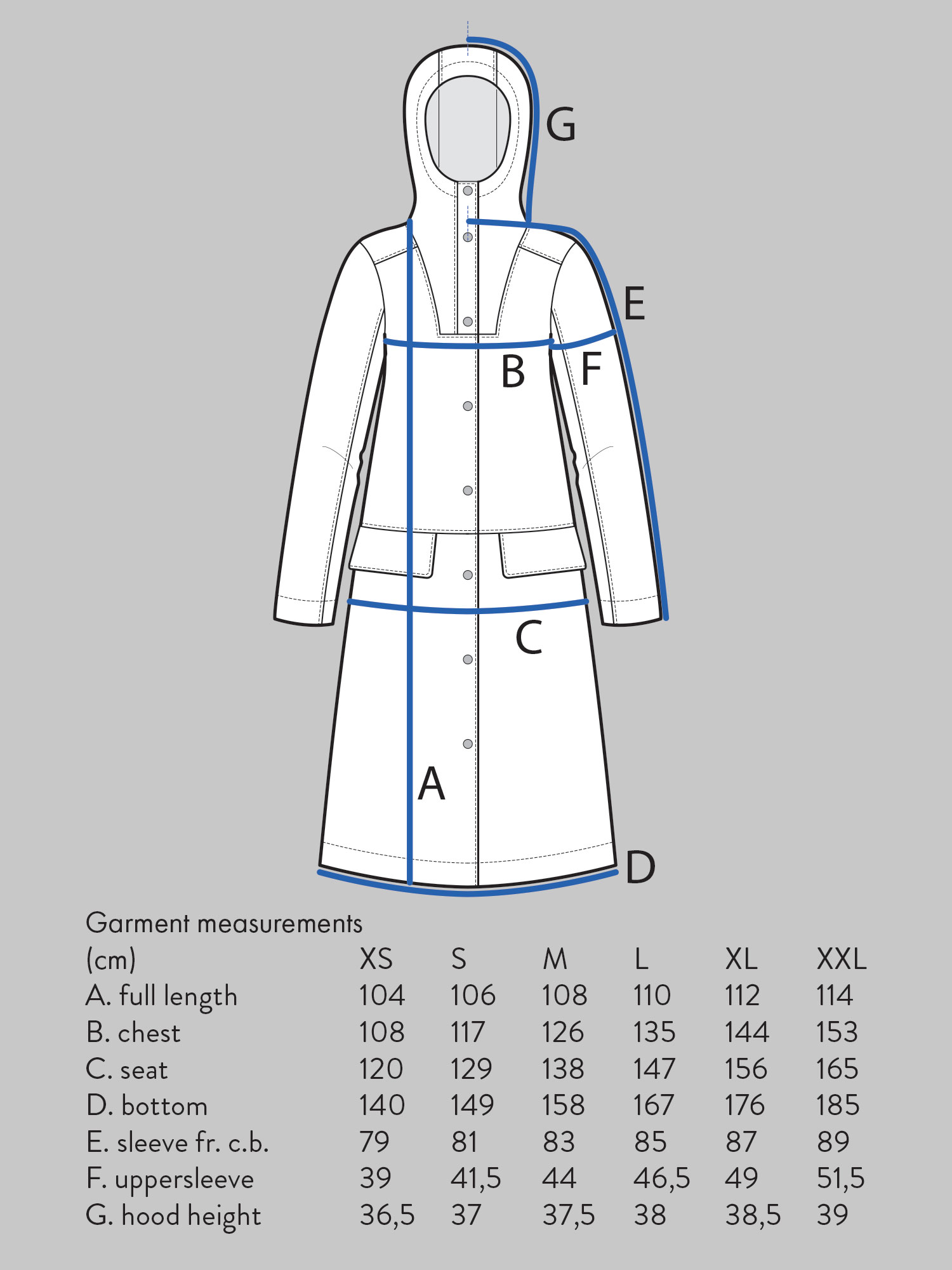 HOODIE PARKA Use bust measurement for sizing.