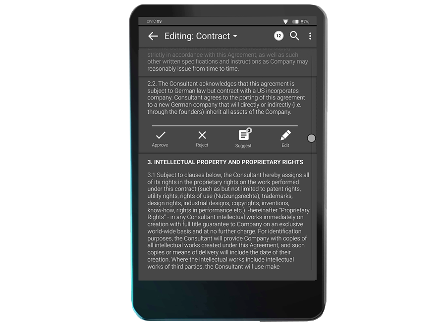 3. Collaborative Text Editing - Ultra-secure seamless text co-editing to negotiate highly sensitive agreements, contracts, deliberations, deals, mergers, acquisitions. Accessible on the move,or at your desktop through the the CivicDock and foldable keyboard.
