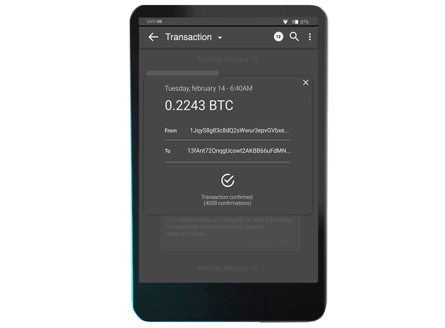 2. E-banking, Crypto and Blockchain Transactions - Ultra-securee-banking transactionsthrough partnering banks hosting an external CivicVPN box. Ultra-secure hardware wallet and clientfor bitcoin, ether, ERC20 tokens and own SAGO Coins. Ultra-secure client to CivicChain and blockchains.