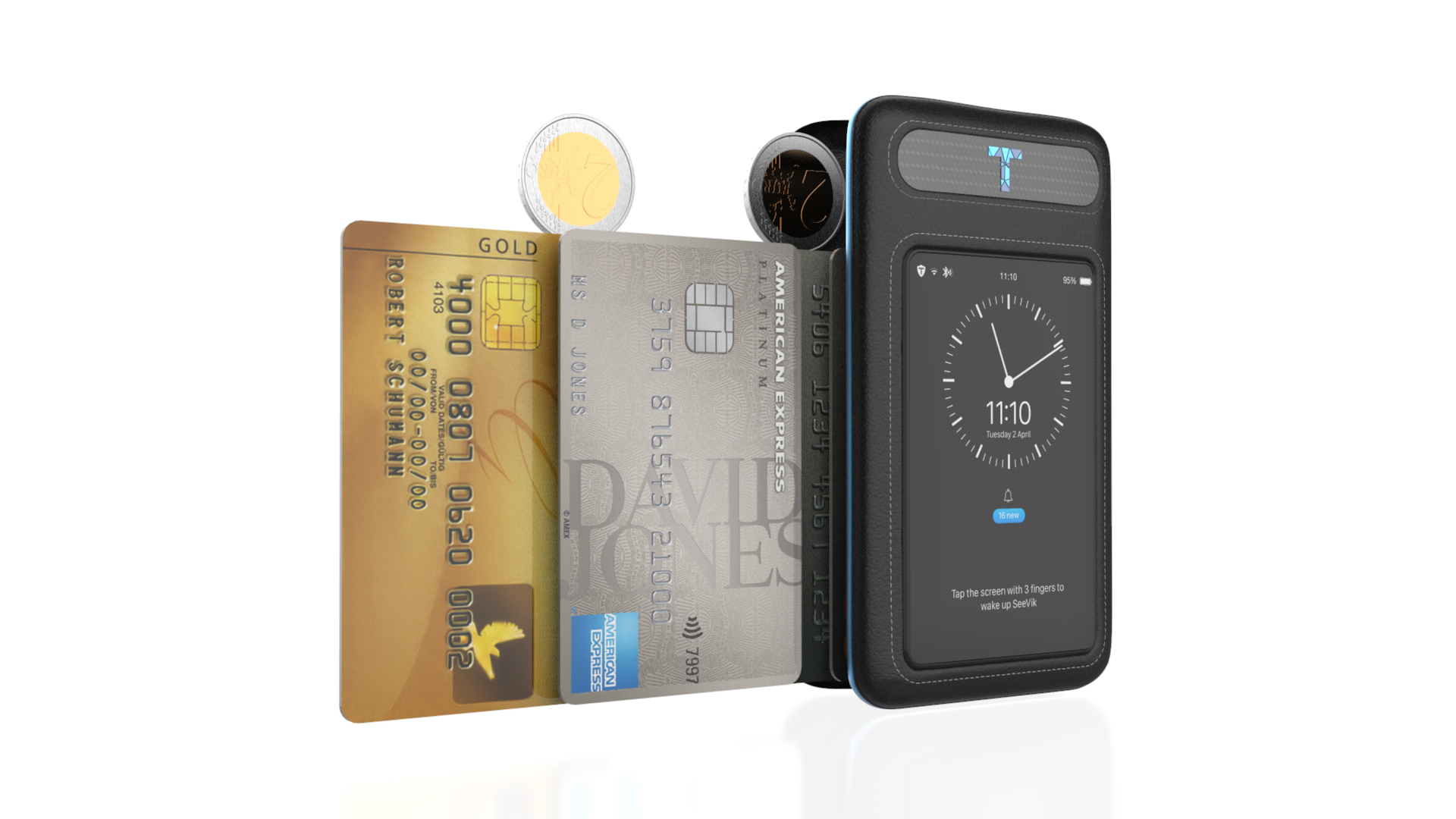 SeeVik WalletAn ultra-secure digital wallet - Holds the SeeVik Pod, and up to 6 cards/ IDs and 15 cash bills. Optimized for ergonomics and durability. Hand-crafted leather woven into carbon fiber. RFID blocking.
