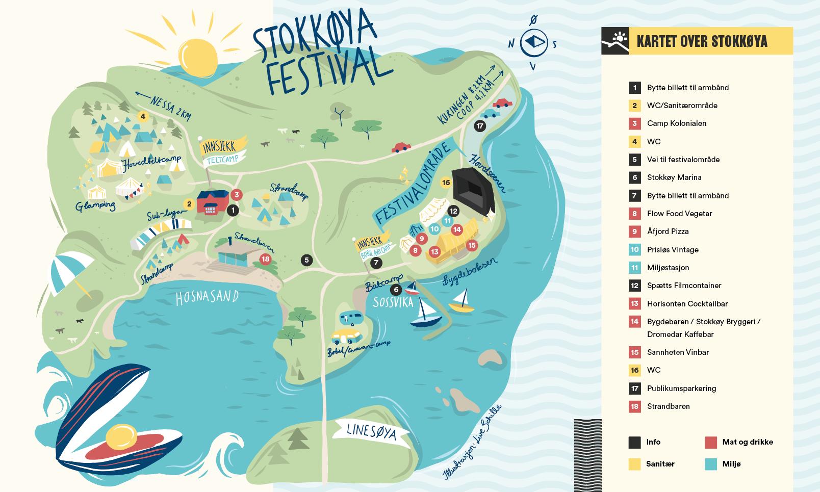 Kart over festivalområdet i 2018-utgaven. Illustrasjon: Live Schille