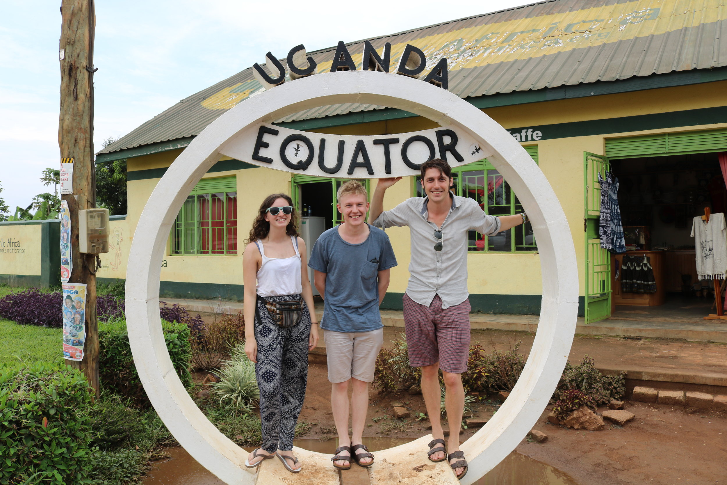Team looking pleased to have finally made it to the equator. Tom looked less pleased later when he saw that water really does flow straight down the plughole at the equator (he's not wrong very often).