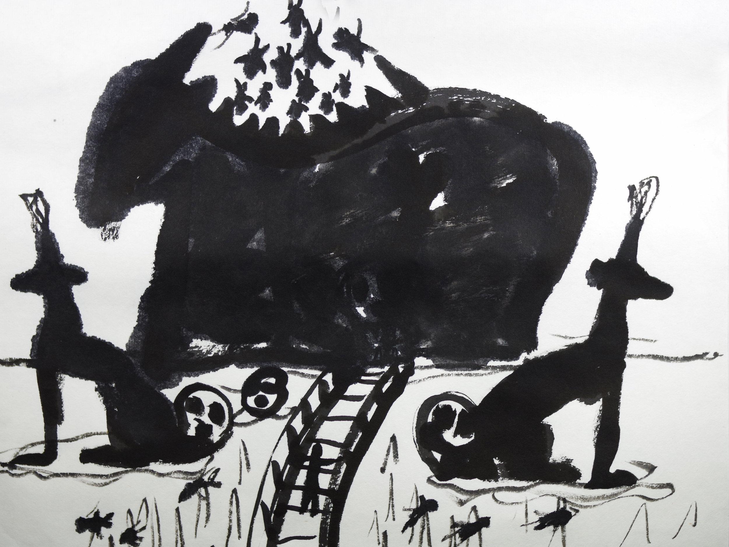 - 作品名称:《水墨动画第二部分——危险》导演:朱赫制片:朱赫国家/地区:中国创作时间:2013 编剧:朱赫美术:朱赫音乐:朱赫片长:2分54秒Title: The Second part of Ink Animation— The DangerDirector: Zhu HeProducer(s): Zhu He Country/Area: China Year of Production: 2013 Screenplay: Zhu He Design: Zhu HeMusic: Zhu HeLength: 2 mins 54 secs《水墨动画第二部分——危险》作品介绍主人公灵魂被窃取后(第一部分)掉到了邪恶恶魔的老巢,他亲眼见证了魔鬼吃人的场景,魔鬼头发现他欲将他吃掉的时候,被天神发现并出手相救......The Synopsis of The Second part of Ink Animation—The Danger After the soul of the hero has been partly stolen (The 1st Part), he drops into evil monster's den where he witnesses the cannibal scene by the monster. The monster finds out his appearance and tends to devour him, but god suddenly shows up and saves him.