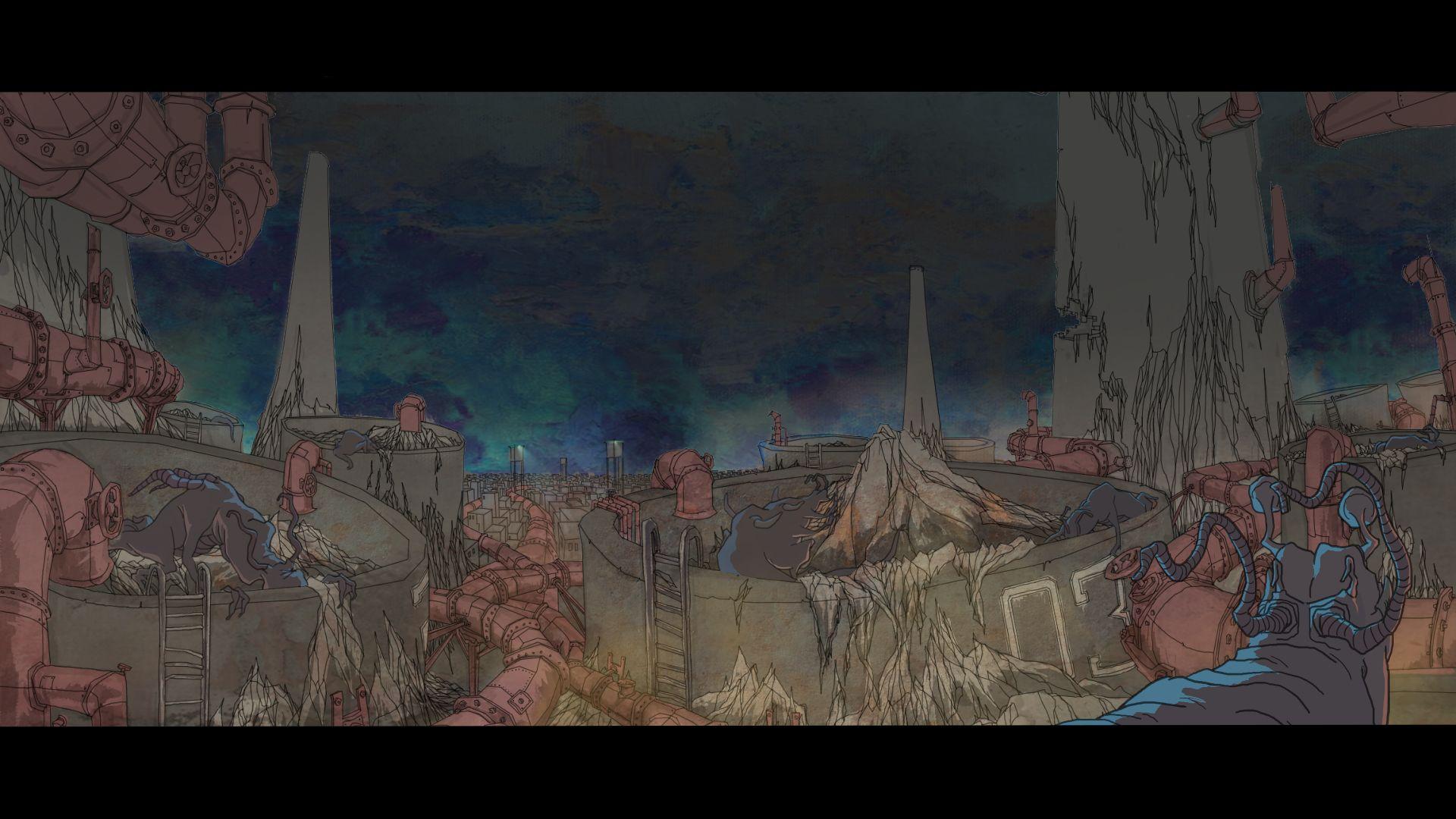 - 作品名称:《默示》导演:李秦楠联合导演:李秦楠,姚琦制片:中国美术学院国家/地区:中国创作时间:2014 编剧:李秦楠美术:李秦楠、姚琦、季望音乐:姚琦片长:9分49秒Title: ImpliedDirector: Li QinnanCo-Director: Li Qinnan, Yao Qi Producer: China Academy of Art Country/Area: ChinaYear of Production: 2014 Screenplay: Li QinnanDesign: Li Qinnan, Yao Qi, Ji Wang Music: Yao QiLength: 9 mins 49 secs作品介绍故事发生在荒芜的大漠上,一座军事禁区里群居着数量庞大的外星生物(大A),他们早期是被人类抓来进行生化试验而后被圈养在禁区内,人类的承诺让他们相信终有一日能重返家园,而人类要求他们进行的消毒处理实质是分批次的屠杀,整个阴谋虽然最终揭发但也为时过晚。Synopsis The story takes place in the barren desert which is a military restricted zones where live a large number of aliens (A). These alien creatures were captured by human beings in the early time for the biochemical experiment, but then were kept in this area. Human beings have promised them that they would go back home one day. However, the essence of the disinfection treatment on the aliens by human is a massacre in batches. The horrible fact has finally been exposed but it is too late.