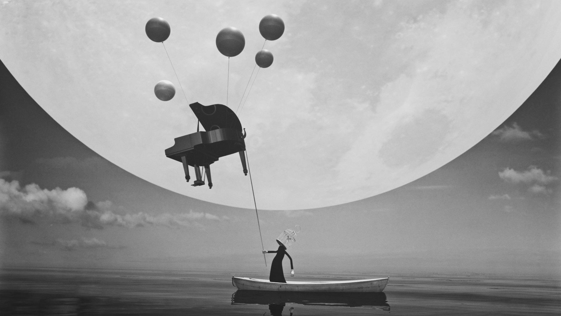 """- 作品名称:《鱼》导演:张林国家/地区:中国创作时间:2014 编剧:张林美术:张林音乐:喜片长:4分53秒Title: FishDirector: Zhang Lin Country/Area: China Year of Production: 2014 Screenplay: Zhang Lin Design: Zhang Lin Music: XiLength: 4 mins 53 secs作品介绍这是一部带有超现实意味的当代风格影片,片子采用三维动画形式表现黑白的世界,讲述的是一个""""鸟人""""与一只鸟围绕一架钢琴与一条鱼的故事。Synopsis This work has been labeled with a typical contemporary mark, with a strong taste of surrealism. It adopts the form of 3D animation to represent a black-and-white world, telling a story of a """"birdy man"""". There is also a fish and a bird flying around a piano."""