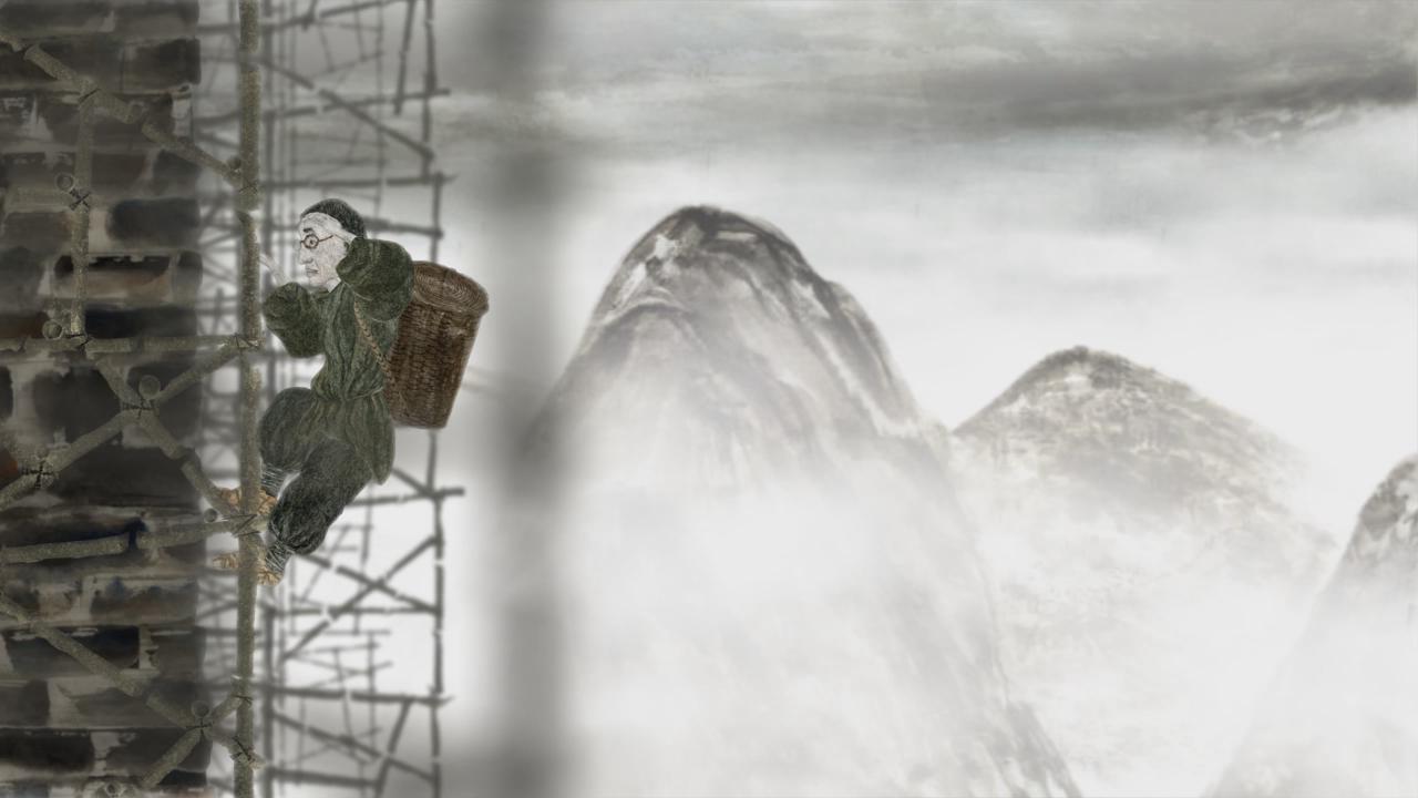 - 作品名称:《长城脚下的小池塘》导演:德米特里·盖勒国家/地区:俄罗斯创作时间:2013 编剧:弗拉基米尔·盖勒美术:德米特里·盖勒音乐:德米特里·盖勒片长:6分50秒Title: A Little Pond by the Great Wall Director: Dmitry Geller Country/Area: RussiaYear of Production: 2013 Screenplay: Vladimir Geller Design: Dmitry Geller Music: Dmitry Geller Length: 6 mins 50 secs作品介绍短片叙述的中心人物是一名艺术家,但他却在建筑工地的围墙上工作。倾盆大雨之下,他从围墙上摔下来,躺在地上。突然,他睁开了一只眼睛,又睁开了另一只......他重新站了起来,开始往上爬。爬到高处,他看见在摇曳的森林上空初升的朝阳照耀着云雾中美丽而又朦胧的景象,如画一般。 多年之后,在一个幽暗的小屋中,一位头发花白的艺术家俯身于画纸前,简短、飞快的几笔,在黑色水墨线条中便呈现出了一片美丽的雾中景象。Synopsis The hero of this short film is an artist who works on the walls of the building site. But all of a sudden, it begins raining cats and dogs. The artist falls down from the high fence, lying on the ground. However, he suddenly opens one of his eyes, and then the other one...He stands up again, and begins to climb up. When he stands on top of the fence, he sees the rising sun shining above the swaying trees. What a beautiful and hazy scene! It is picturesque. Many years later, in a dark small house, a grizzled artist bends over in front of the paper, with several quick strokes, a beautiful and hazy scene is reproduced in those black ink lines.