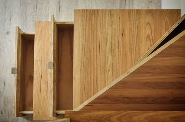 Sowelo Tiny Houses. Soft close drawer storage under stair treads. Sustainable FSC Timber coated in matt finish, food grade, hard wax oil. #sowelotinyhouses #sustainable #environmental #ecobuilding #fsc #australiantinyhouses #Tinyhousesaustralia #livingbiginatinyhouse #design  #architecture #functional #minimalism #minimalist #tinyhouseonwheels #australiantinyhouses