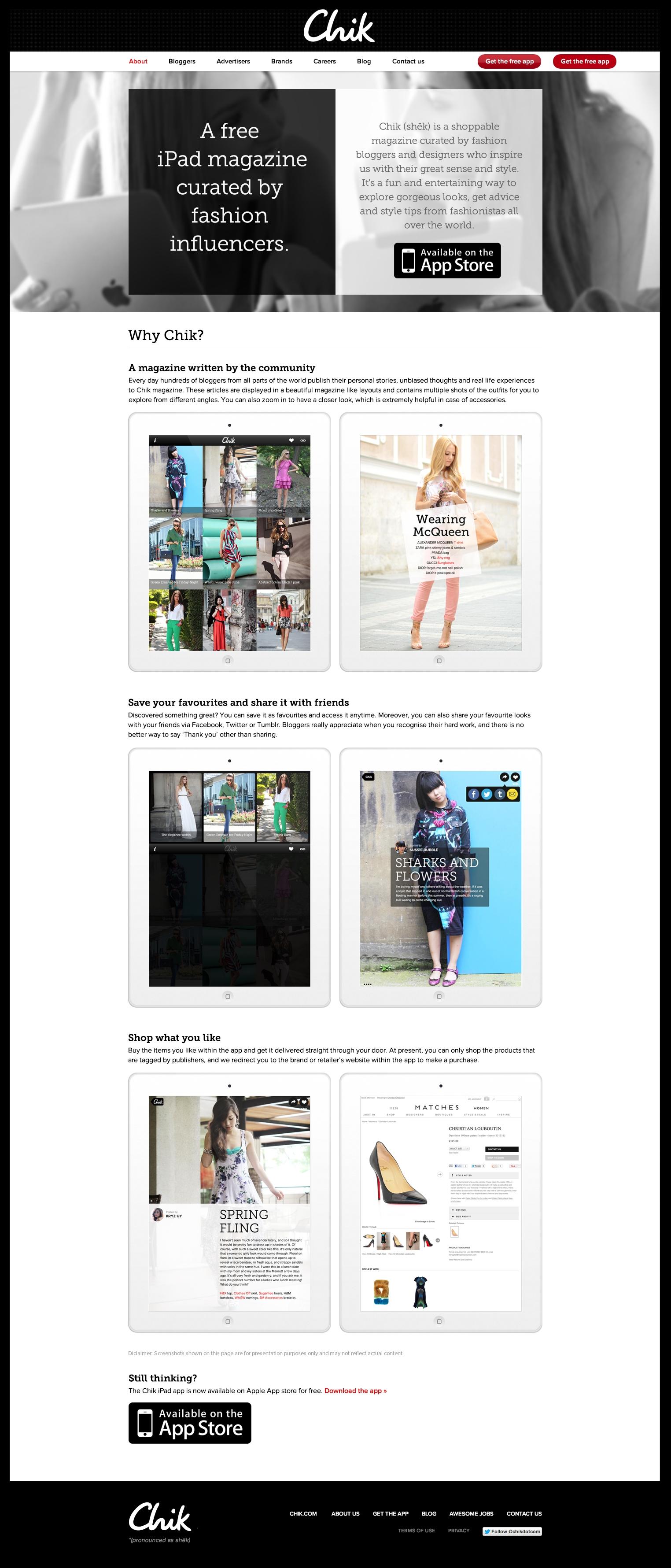 Chik.com about page design