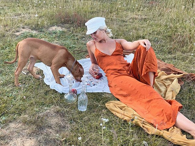 When your picnic gets crashed by a puppy 🧺 🐶 shooting on Hampstead Heath with @jessicadavy 💛 new new coming 🔜 #goosethelabel