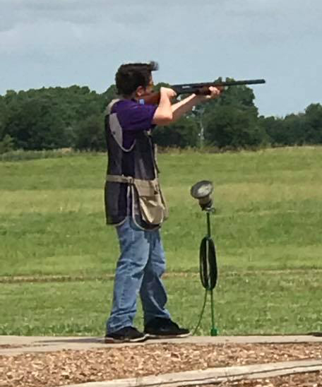 Tristan shooting at the 2019 Kansas State High School Trap Shoot