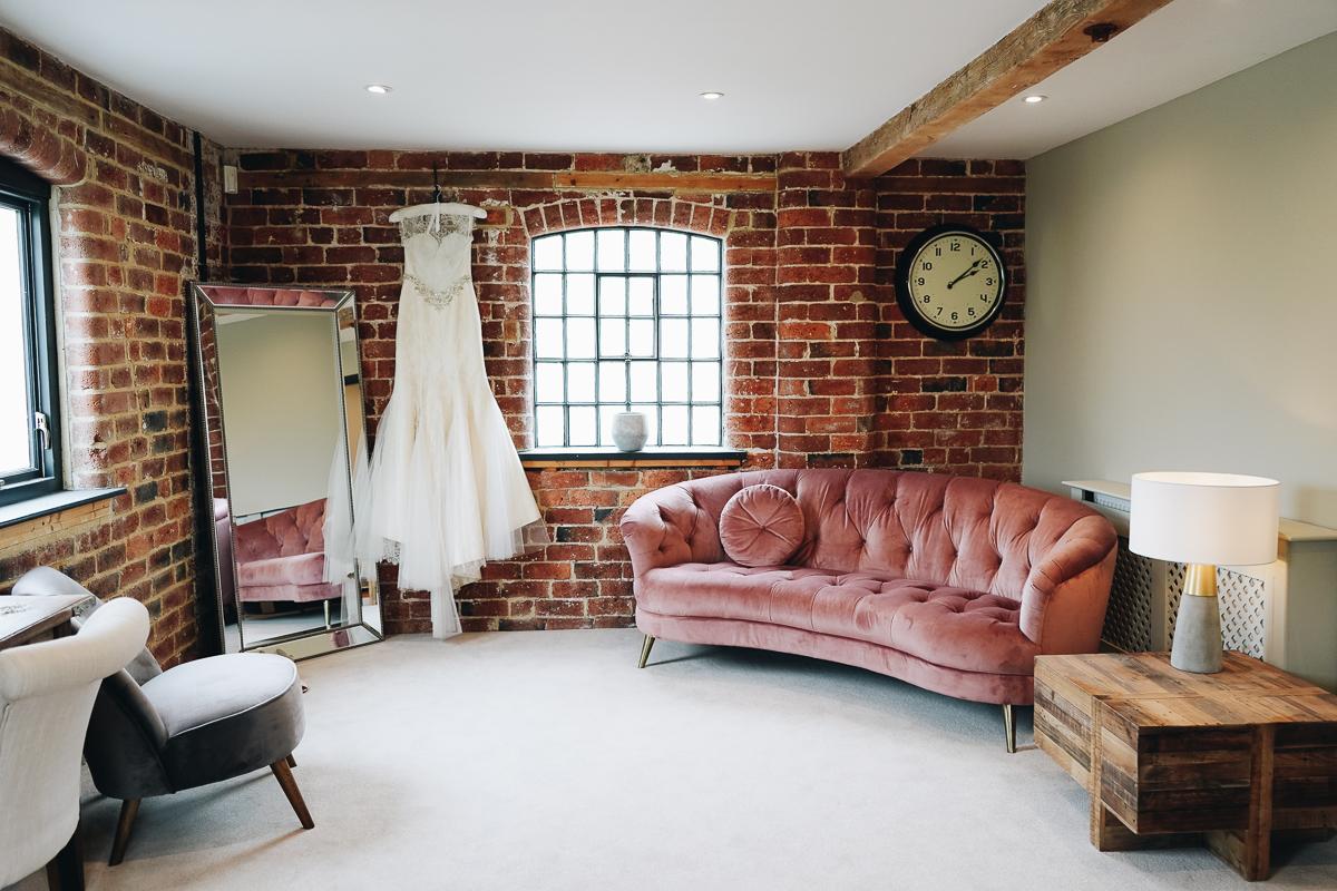 Bridal dressing room at Derbyshire wedding venue