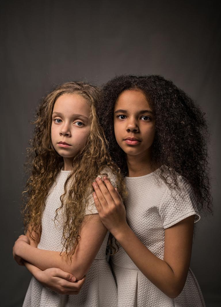 Marcia (left) and Millie Biggs, both 11. by ROBIN HAMMOND