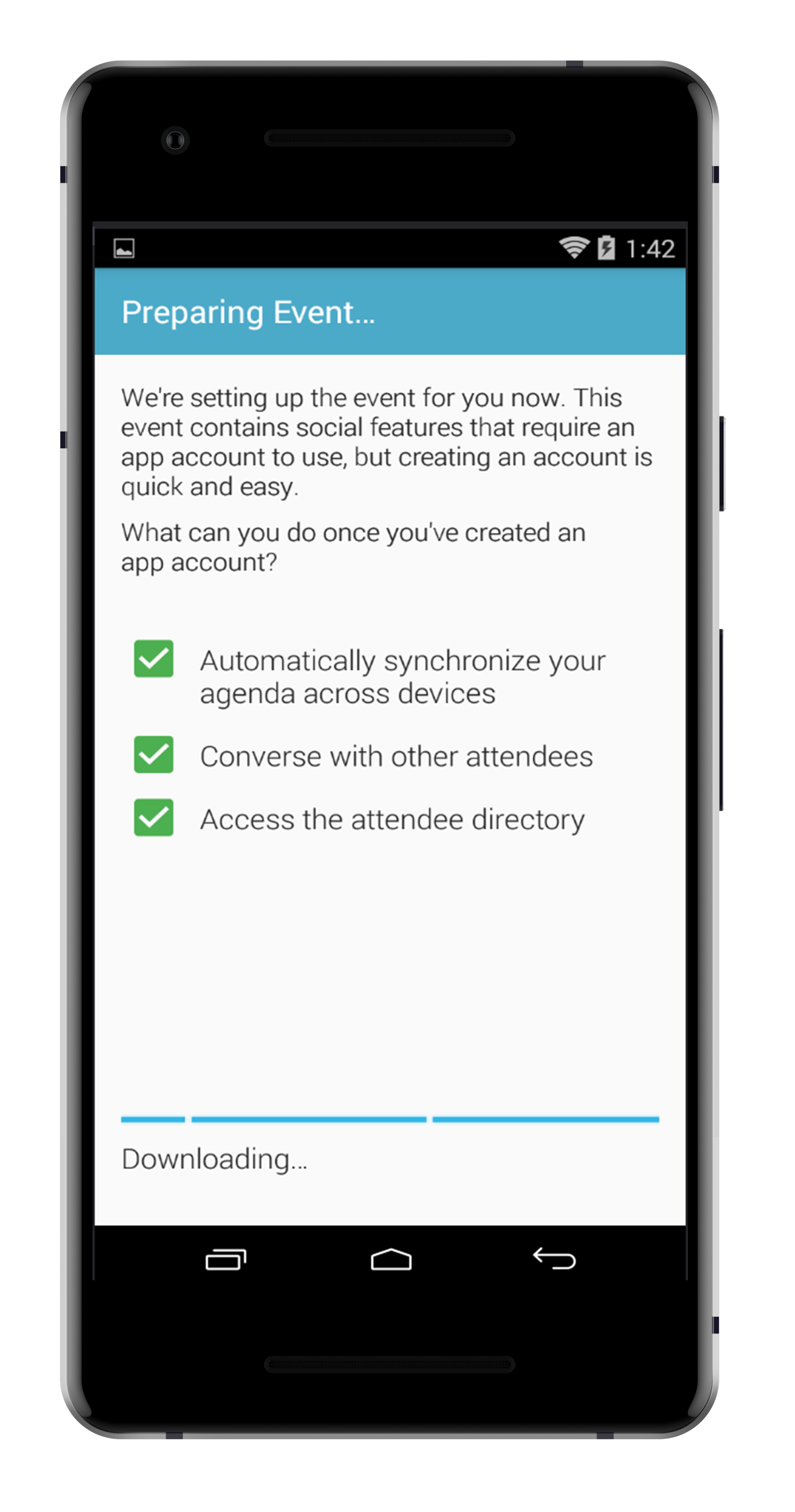 step 5. - YOU WILL NOW SEE THAT YOUR APP IS AUTOMATICALLY SYNCHRONIZNG YOUR DATA WITH THE APP, ALLOWING FOR NOTIFICATIONS, ACCESS TO THE DIRECTORY AND THE FULL APP EXPERIENCE.