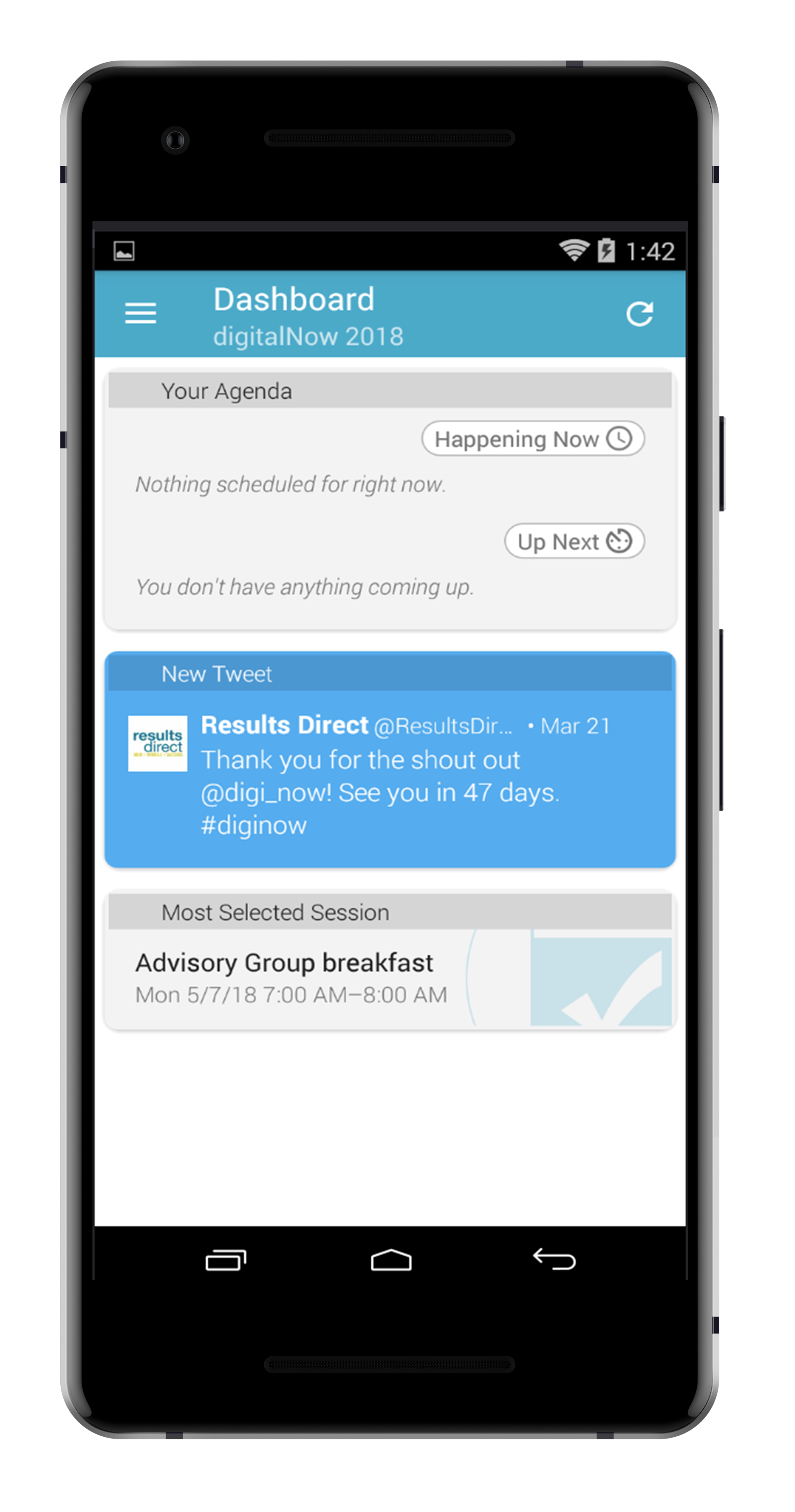 step 6. - WELCOME TO THE DIGITALNOW 2018 OFFICIAL CONFERENCE APP. THIS IS THE DASHBOARD SCREEN WHERE YOUR AGENDA WILL BE STORED, ANY CURRENT CONVERSATIONS, AS WELL AS YOUR SOCIAL OPTIONS.