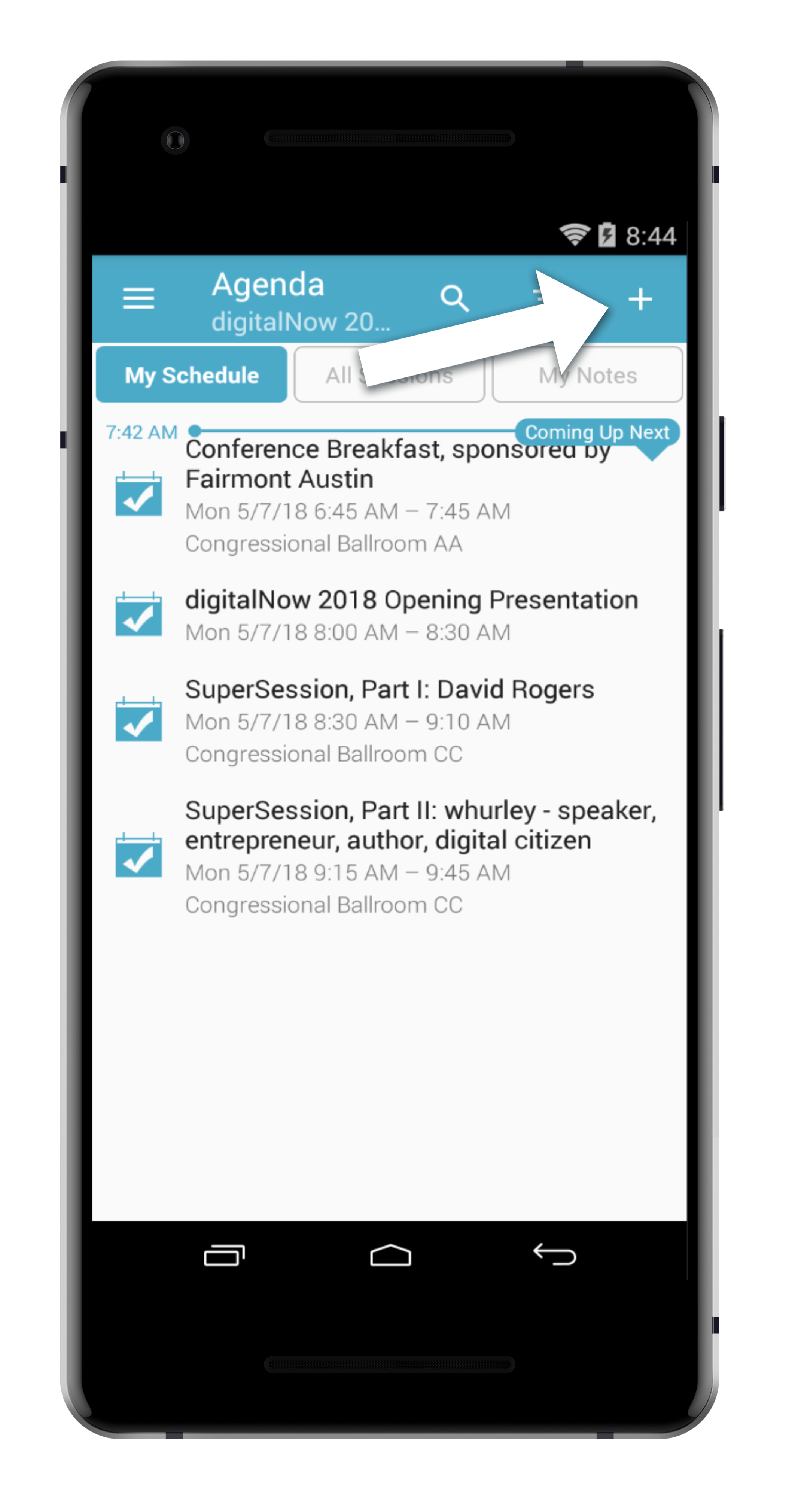 step 2. - FROM THE AGENDA, TAP THE LITTLE PLUS SIGN IN THE TOP RIGHT CORNER.