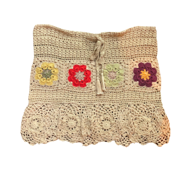 Floral Knit Skirt, Beige
