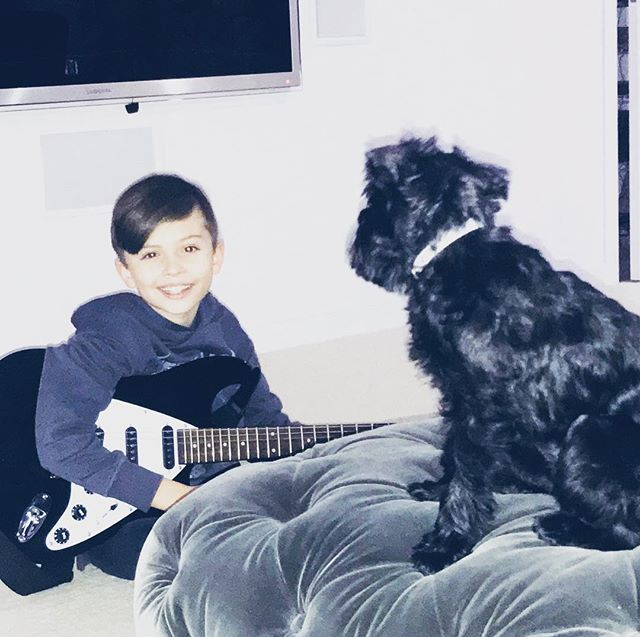Playing the guitar to my #1fan Ace #brusselsgriffon #griffon #griffondogs #griffonlove #guitarist #guitarkid #guitarkids #ewoks #ewokdog #ewoklife