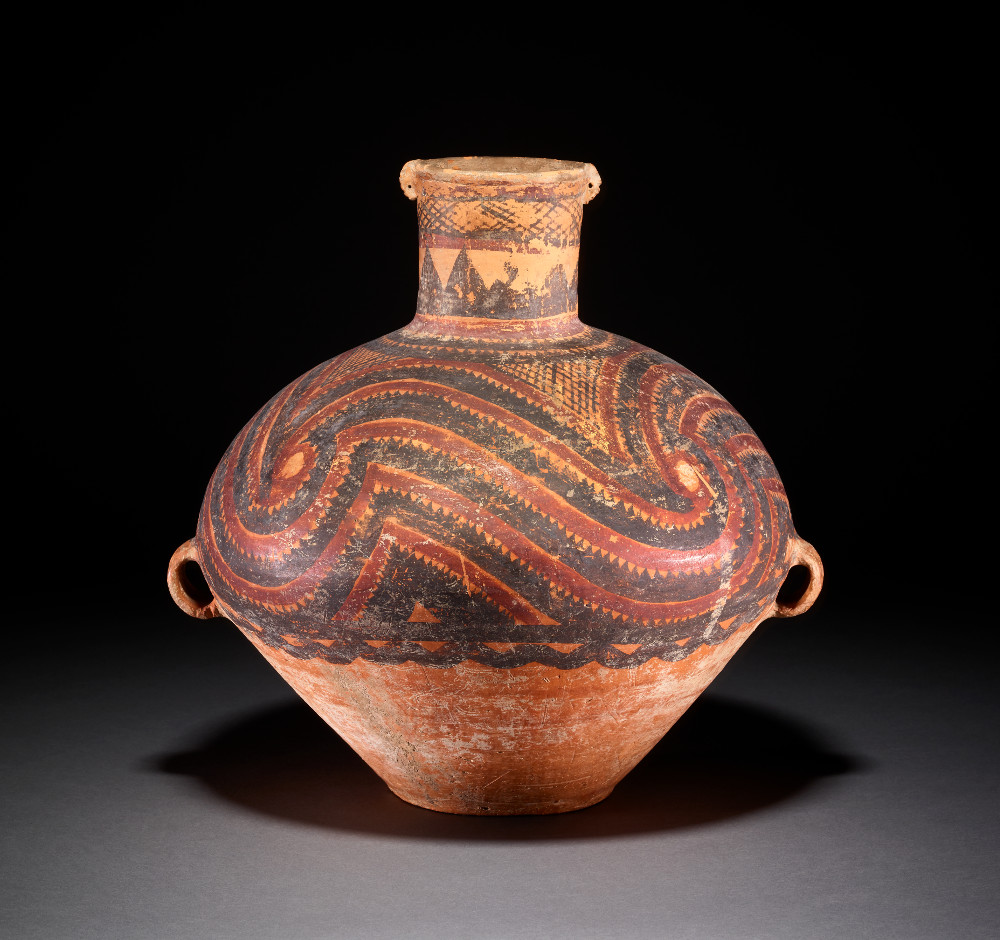 Majiayao pot - Earthenware2500–2300 BCGansu, ChinaBritish MuseumPainted pottery with geometrical or animal patterns was made in China from around 5000 BC. The Majiyao culture (3300–2000 BC) first flourished in a series of farming villages in the Yellow River valley. Besides being daily utensils used by the Majiyao to store food or drink, pottery was also a major burial offering in ancient China.