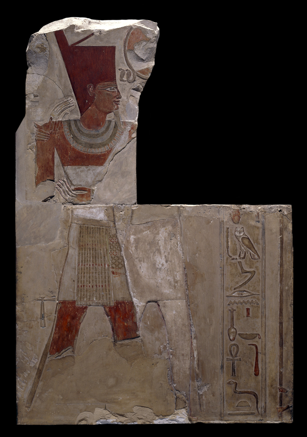Relief of Mentuhotep II - Limestone2055–2004 BCDeir el-Bahari, EgyptBritish MuseumThis relief shows the Pharaoh Mentuhotep II (reigned 2055–2004 BC), whose name means 'Montu is satisfied'; receiving the blessings of the falcon-headed god of war Montu (now largely destroyed). Mentuhotep II's reign was marked by intense military activity. He is credited with having reunited Upper and Lower Egypt, and reopening trading links with the Levant. To further solidify his power, Mentuhotep II reorganised the administrative structure of Egypt, installing governors to limit the power of provincial officials.
