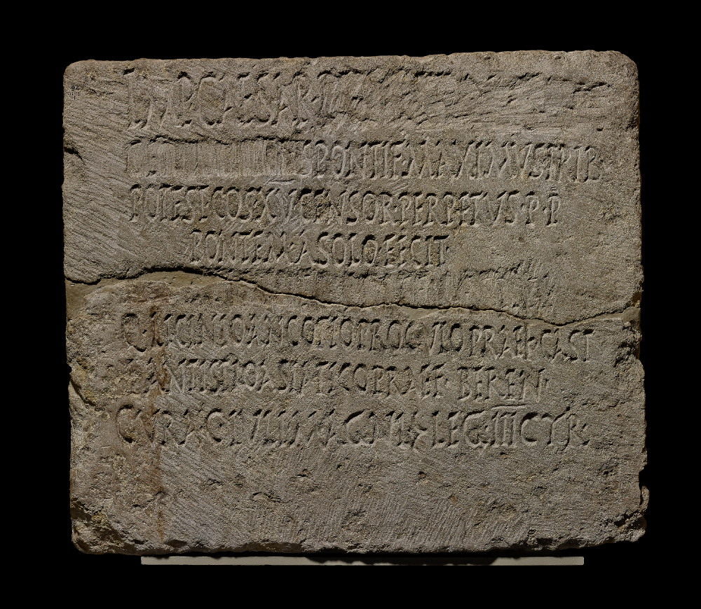 Roman imperial inscription  - LimestoneAD 90Qift, EgyptBritish MuseumInscriptions helped to record the achievements of the Roman emperor, allowing him to publicise laws, honour gods and commemorate important events, buildings or people. They were a means of governance and asserting power.This inscription in Latin comes from Egypt. It commemorates the building of a new bridge by the Emperor Domitian (reigned AD 81–96). Listed on this inscription are several powers and titles which he held. However, Domitian's name itself has been erased.
