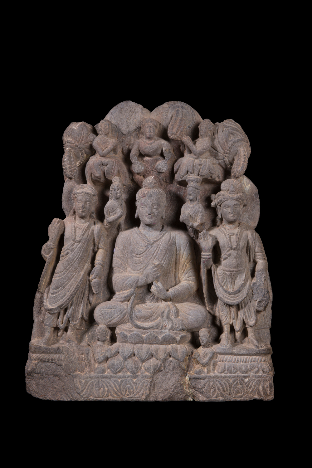 Buddhist triad from Gandhara - Grey SchistApproximately AD 150–250 Gandhara, Pakistan or AfghanistanHaryana State Archaeology and Museums