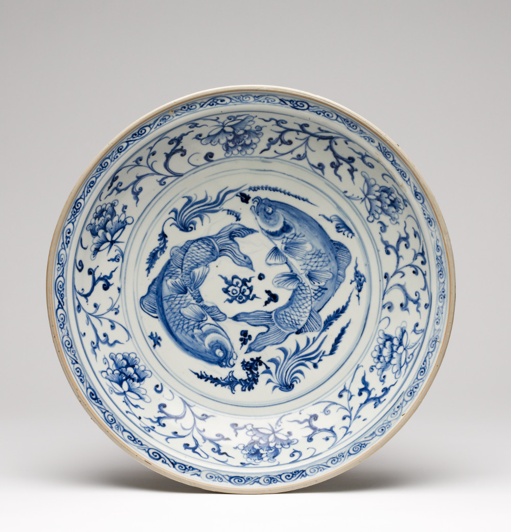 Chinese dish  - PorcelainAD 1325–1375Made in Jingdezhen, China; found in Delhi, IndiaCentral Antiquity Collection, Purana QilaArchaeological Survey of India, New DelhiMany of the Chinese dishes excavated in Delhi have a Persian inscription on the base that indicates they belonged to the imperial Tughlaq kitchen. These dishes are important not just for the history of trade from China, but because they are amongst the oldest blue-and-white ceramics in the world. Such dishes were highly prized by the Tughlaq sultans who ruled Delhi from 1320 to 1413, as well by other Muslim courts, including the Safavids in Iran and the Ottomans in Turkey.