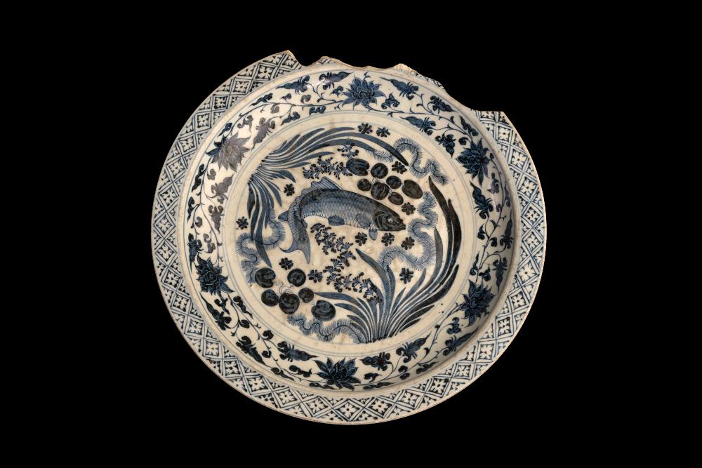 Large blue and white dish showing swimming carp  - Blue and white dishStonewareAD 1440–1460VietnamBritish Museum