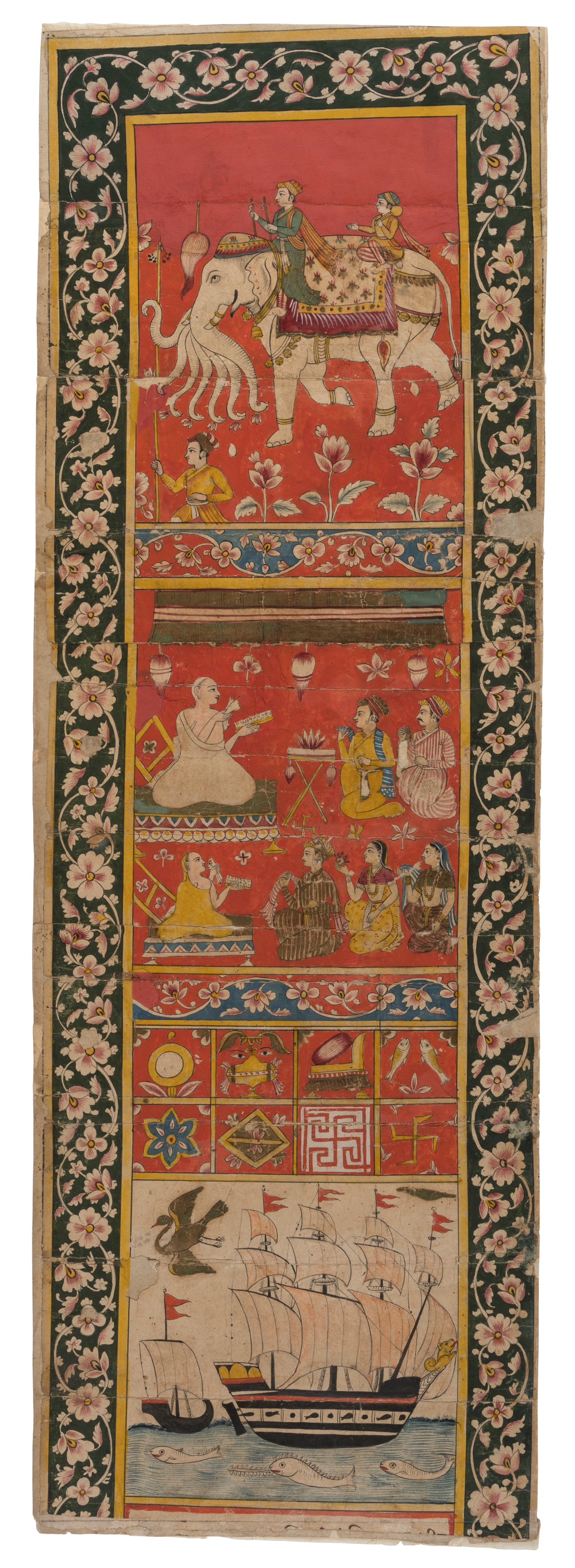 Vijnaptipatra - Painting on paperAbout AD 1600–1700Probably Surat, Gujarat, IndiaKarl and Meherbai Khandalavala Collection CSMVSVijnaptipatra were letters of invitation from Jain communities requesting saints to reside in their commune during the holy period of chaturmasa(four months). The text of these invitations was almost always preceded by illustrations that depicted sights such as marketplaces along the route, which the delegation of Jains carrying the invitation crossed. This particular vijnaptipatrashows European galleys indicating that the authors could have been residents of a port.Vijnaptipatra