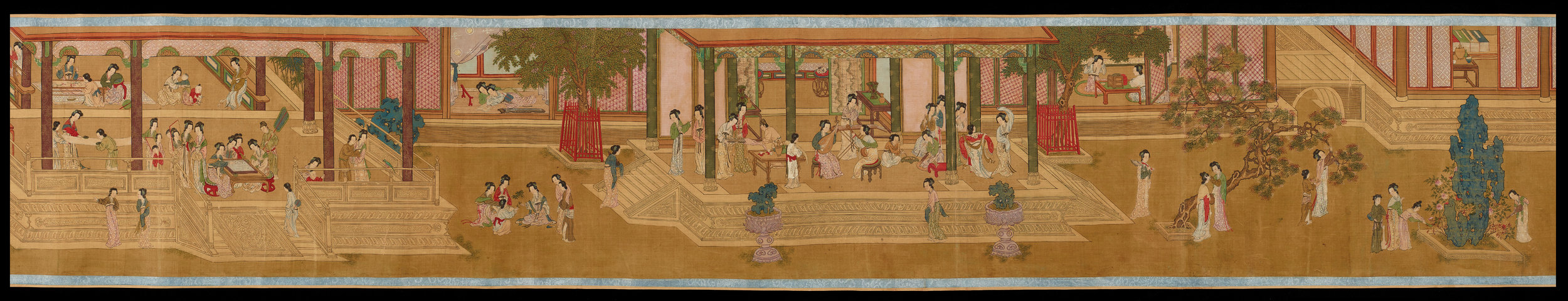 Copy of a Ming handscroll showing the occupations of the court ladies  - SilkAbout AD 1644–1911ChinaBritish MuseumThis painting, copied from a famous Ming scroll, is an idealised portrayal of Chinese courtly life. It depicts a spring morning in the Han Palace. Wearing traditional Ming costumes, the women of the court are shown at their leisure, playing musical instruments, dancing, having their portraits made and playing games.Aside from the empress, many women occupied the court as courtesans or servants. The concubines were often sent to the imperial court from surrounding states, like Mongolia and Korea.