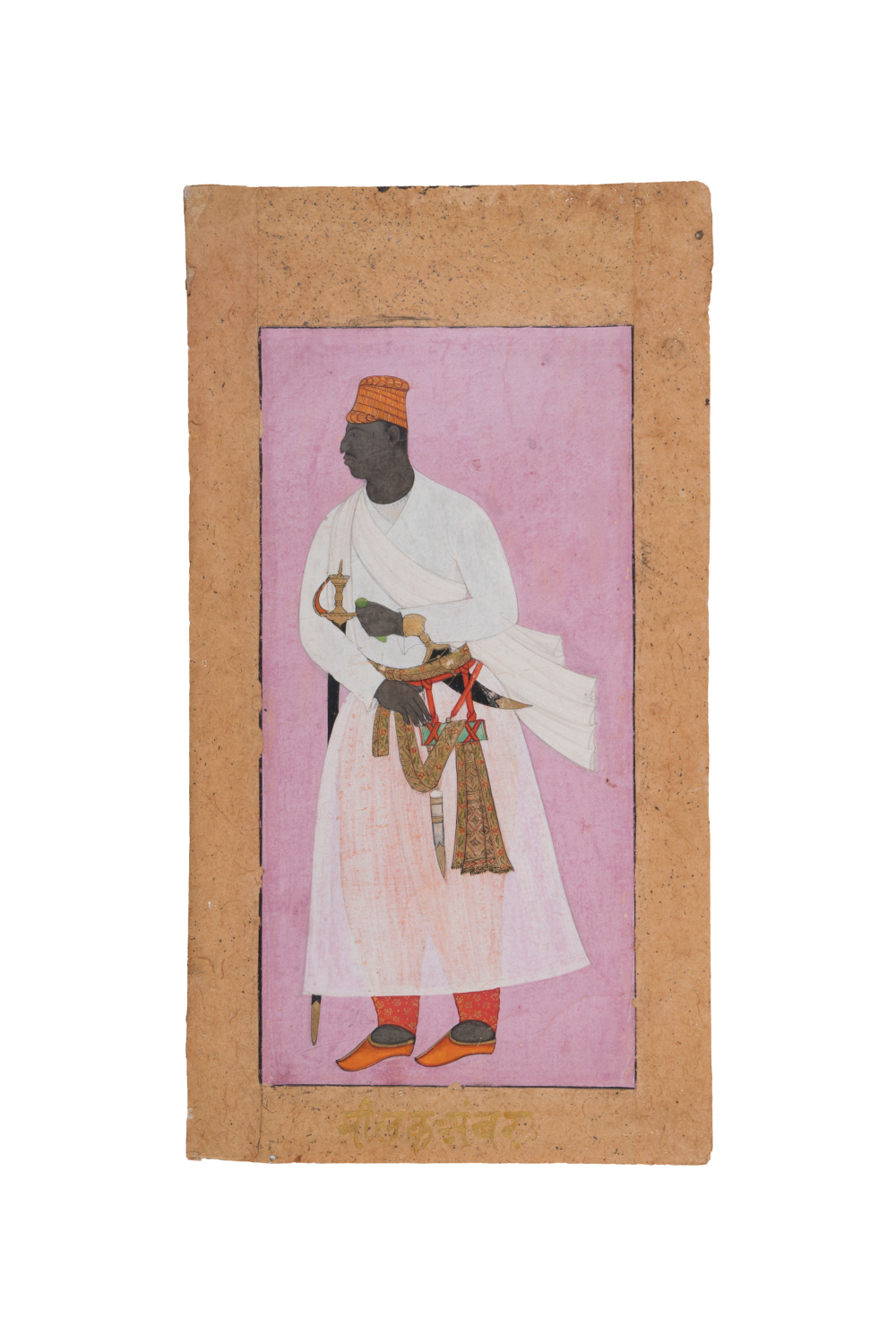 A portrait of an African nobleman - Gouache and gold on paperAhmadnagar, Maharashtra, IndiaAbout AD 1605–10 National Museum, New DelhiThis portrait is inscribed with the name of Malik Ambar (1548–1626), who was born in Ethiopia and was sold into slavery as a young boy. He was brought by his owner to the Ahmadnagar Sultanate in the Deccan, where he was freed and had an illustrious career in the military. He became a thorn in the side of the Mughals and rose to become prime minister and general of Ahmadnagar.