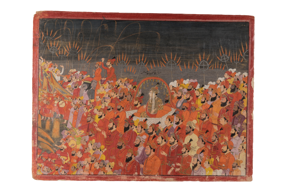 The wedding procession of Prince Aniruddha Chand  - By the painter Purkhu of KangraOpaque watercolour and gold on paperPahari, About AD 1800 Kangra, Himachal Pradesh, IndiaInscribed, on face, with names of personages in Persian charactersGovernment Museum and Art Gallery, ChandigarhThis painting shows the fifteen-year-old bridegroom Aniruddha Chand being carried to his wedding in a palanquin. His father, Raja Sansar Chand Katoch (1765–1823), dressed in red robes and a striped turban, controlled a substantial part of what is now Himachal Pradesh and the bordering Punjab from his capital at Kangra. A figure riding an elephant throws coins towards onlookers, buying goodwill, spreading cheer amongst the people of Kangra who will forever remember the wedding of their crown prince.