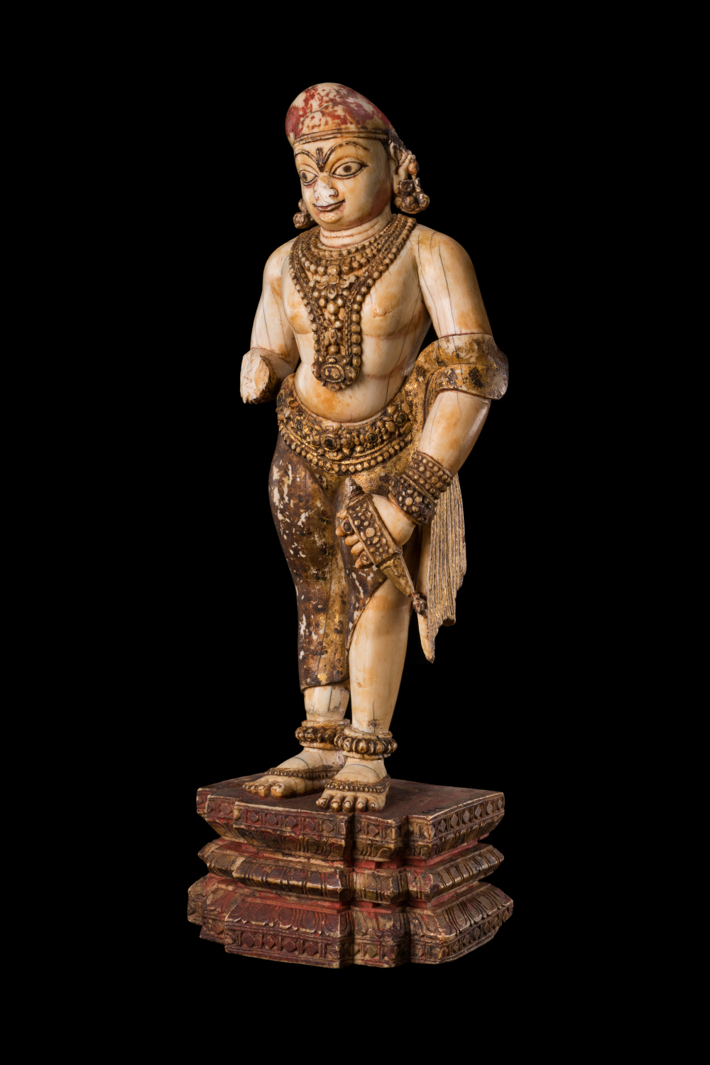 Portrait of a Nayaka king  - Portrait of a Nayaka kingIvoryAD 1600–1700Madurai, Tamil Nadu, IndiaCSMVS, MumbaiThis small ivory statuette might come from a lavish private temple of one of the Nayaka families. He holds a baku, a horn-shaped weapon that was commonly carried concealed in the sleeve. The Nayaka dynasties ruled a series of kingdoms across south India in the seventeenth century. Monumental portraits of Nayaka kings were placed in temple hallways where the worshipping public would note the devotion of the king and see him as also being blessed by the deity. This elegant ankusha (below)is used for controlling elephants either on foot or when mounted, but it is also a symbol of royalty in south India.