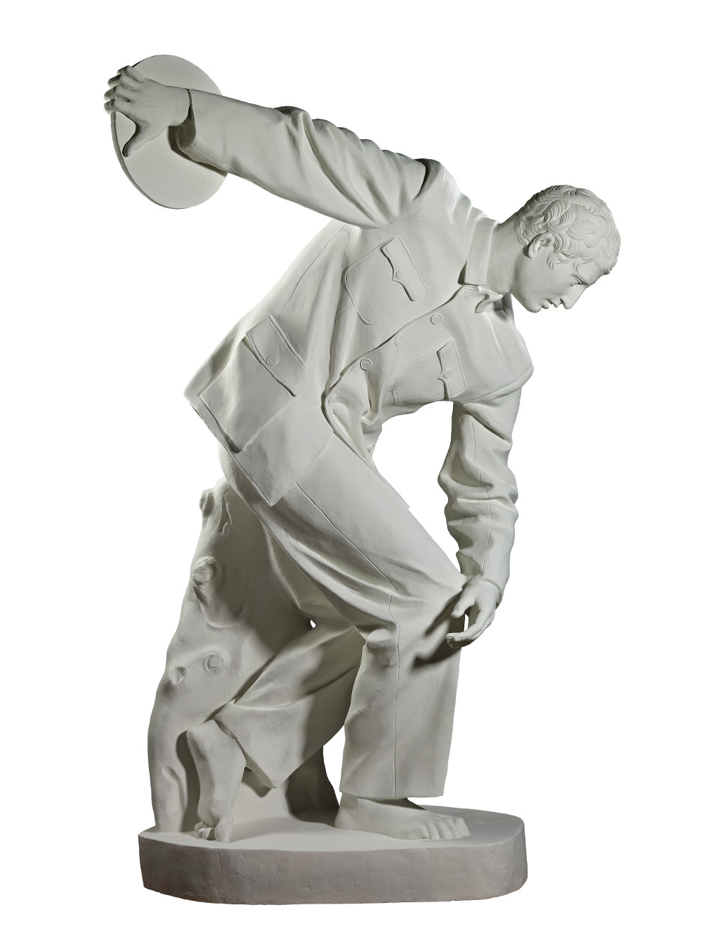 Discobolus in Zhongshan suit - By Jianguo SuiBronzeAD 2012ChinaBritish Museum© 2017 Sui Jianguo / Asia ARMThis sculpture is based on the ancient Greek statue of Discobolus (discus thrower) – the bronze has been painted to resemble white marble. Jianguo Sui has dressed the athlete in a modern Zhongshan suit, an outfit associated with the Chinese Communist leader Mao Zedong (1893–1976). Poised to release his discus while clad in constricting bureaucratic garb, the sculpture becomes a metaphor for the artistic constraints of communist-era China. It also provides a witty and ironic comment on the complex historical relationship between Asia and Europe.