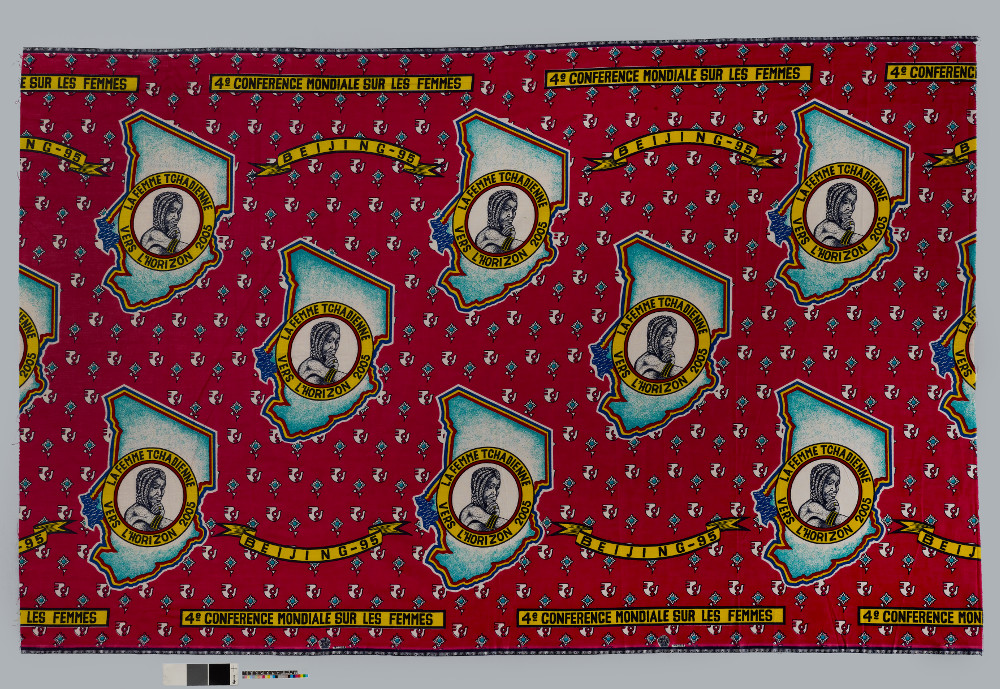 Women's cloth - Printed cottonAD 1995Ndjamena, ChadBritish MuseumThis textile commemorates Chad's participation in the Fourth UN World Conference on Women held in Beijing in 1995. The pattern shows a woman against a map of Chad and the slogan in French reads, 'The Chadian woman towards the horizon 2005'. Chad gained independence from France in 1960. Despite civil war and instability, Chad established a Ministry of Social Affairs and the Status of Women. This represents part of a wider push for greater rights for women around the world in the twentieth century.