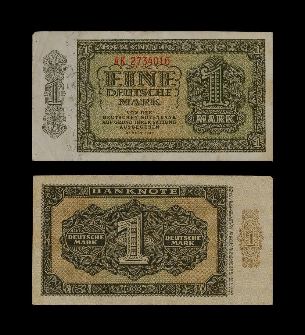 West and East German Banknotes - One markPaperAD 1948Berlin, GermanyBritish Museum