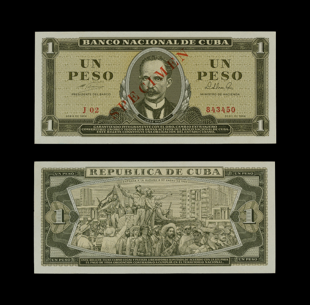 Cuban banknotes: One Peso - PaperAD 1964Havana, CubaBritish Museum The first Cuban one peso banknote was issued by the Spanish Bank of Havana in 1879 and commemorates the arrival of Christopher Columbus in 1492, who subsequently claimed the island for Spain. Cuba eventually achieved independence in 1902 after a series of wars with Spain and a period of US military rule.The second banknote was printed by the National Bank of Cuba in 1964, after the Cuban Revolution. It recalls the fight for Cuban independence by showing a portrait of José Martí (1853–1895), the most prominent pro-independence leader and founder of the Cuban Revolutionary Party.