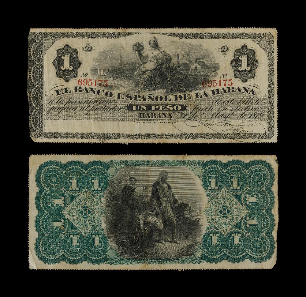 Cuban banknotes: One Peso - PaperAD 1879Havana, CubaBritish Museum