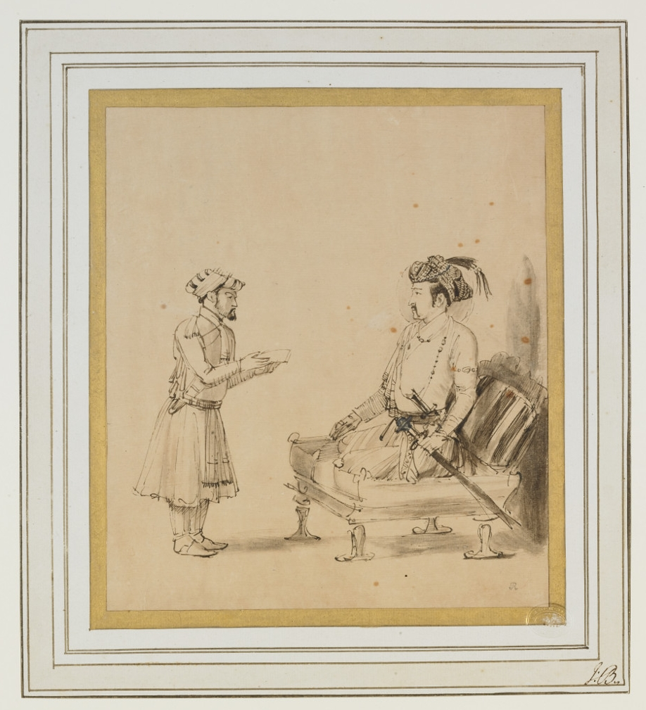 Jahangir receiving an officer - By RembrandtPaperAbout AD 1656–1661HollandBritish MuseumThis is a drawing of the Mughal Emperor Jahangir (reigned 1605–1627) copied by the celebrated Dutch artist Rembrandt. Courtly life was often the focus of Mughal miniature paintings, which fascinated Rembrandt.Jahangir is shown within his court seated on a divan dressed in his finery. Rembrandt has paid great attention to the Mughal clothing, but has altered the perspective to provide a greater sense of depth in keeping with European artistic style.