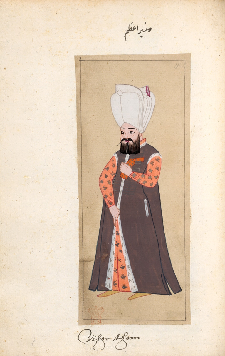 The grand Vazir - Leaf in the album 'The Habits of the Grand Signor's Court'Ink and watercolour on paperAbout AD 1620TurkeyBritish Museum, bequeathed by Sir Hans SloaneThe Ottoman Empire reached its height of power during the sixteenth and seventeenth centuries. Thanks to an efficient and far-reaching bureaucracy, the Ottomans maintained control over territories stretching from Eastern Europe and North Africa to the Caucasus for over 200 years.This painting shows the sadrazam or grand vazir, the most important official in the Ottoman court and the direct representative of the sultan. The grand vazir was, in effect, the prime minister of the Ottoman court.
