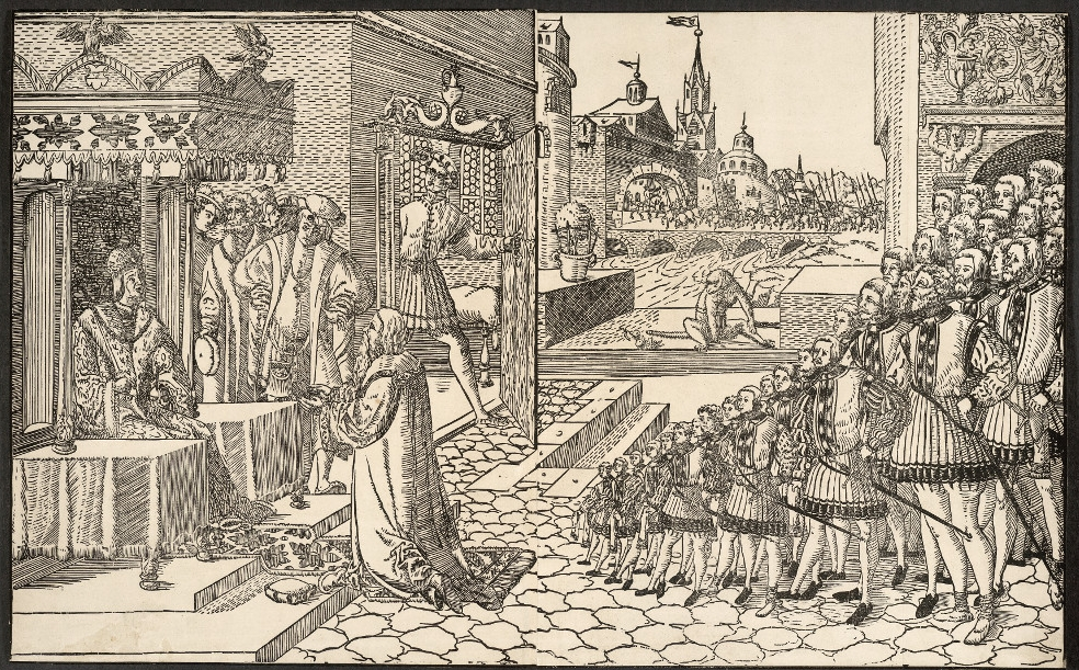 Maximilian I, Holy Roman Emperor  - AnonymousPaperAD 1510–1540GermanyBritish MuseumSeated under a canopy, the Holy Roman Emperor Maximilian I (1493–1519) is shown here giving audience to a foreign ambassador, who kneels in front of him. Members of his embassy are drawn spilling out of a doorway on the right, and in the background an army marches into a fortified city. Born in present-day Austria, Maximilian I belonged to the Royal House of Habsburg, one of the most prominent and opulent royal houses in Europe.