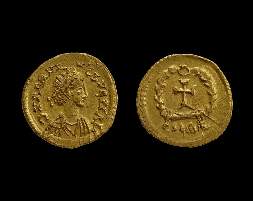 Roman coin of Romulus Augustulus - GoldAD 475–476Arles, FranceBritish Museum