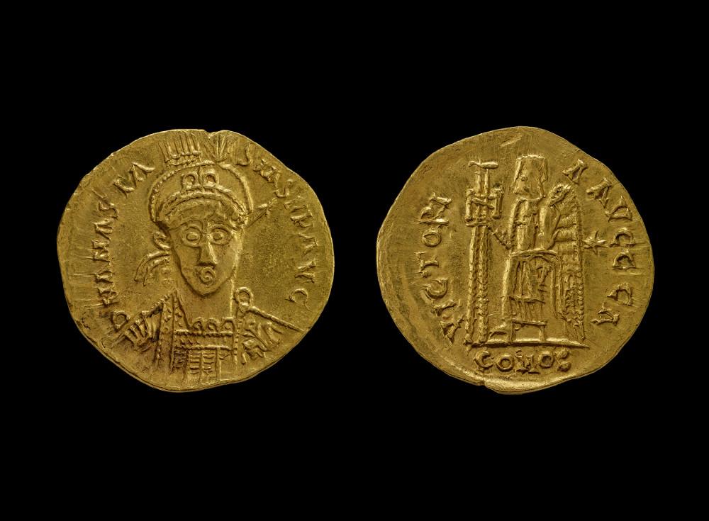 Visigoth coin in the name of Anastasius I  - GoldAD 491–518FranceBritish Museum