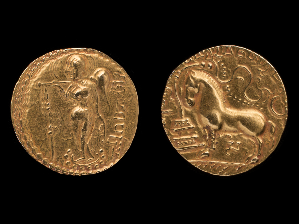 Gupta dinar of Samudragupta - GoldAbout AD 335–380Central IndiaCSMVS, MumbaiThe visual language of Hinduism was established in the Gupta period around AD 400. The coin of Samudragupta's reign shows the horse before a sacrificial post on one side and the queen with a flywhisk on the other. The horse is symbolic of the Ashwamedha yajña, an elaborate, and very public, vedic rite of kingship that was revived by the Gupta kings to assert themselves as a Brahmanical monarchy.