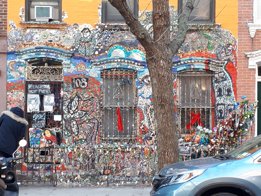 Reused recycled building material mosaic | New York City